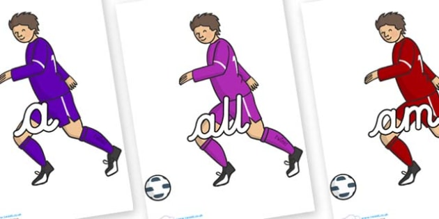 Foundation Stage 2 Keywords on Football Players - FS2, CLL, keywords, Communication language and literacy,  Display, Key words, high frequency words, foundation stage literacy, DfES Letters and Sounds, Letters and Sounds, spelling