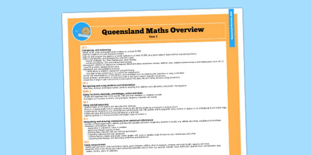 Queensland Curriculum Year 3 Maths Numeracy Syllabus Overview - australia