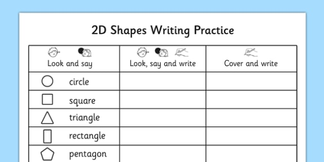 2D Shapes Writing Practice Worksheet - 2d shapes, writing, practice, worksheet, 2d, shape