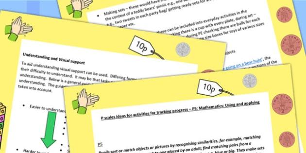 P Scales Ideas Activities Tracking Progress Maths Using Applying