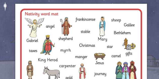 Australia Nativity Word Mat - nativity, christmas, word mat, keywords, xmas