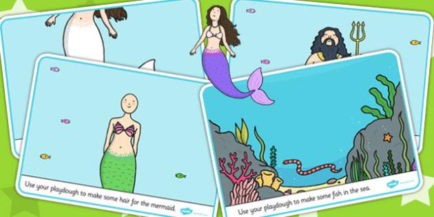 The Little Mermaid Playdough Mats - fine motor skills, story book