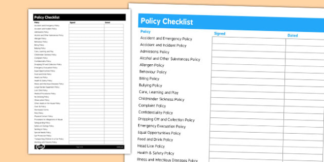 Policy Checklist for Childminders - childminders, policy, check