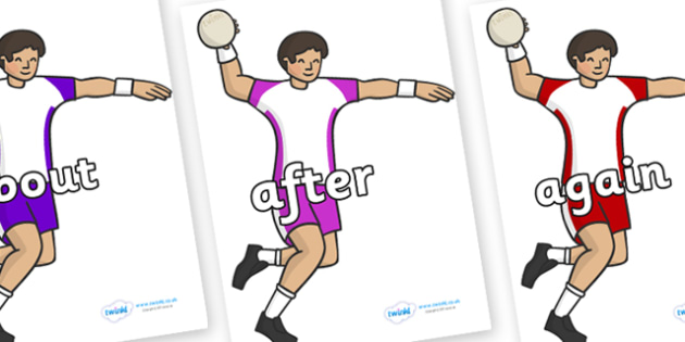 KS1 Keywords on Handball Players - KS1, CLL, Communication language and literacy, Display, Key words, high frequency words, foundation stage literacy, DfES Letters and Sounds, Letters and Sounds, spelling