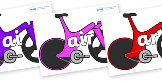 Phase 3 Phonemes on Bikes - Phonemes, phoneme, Phase 3, Phase three, Foundation, Literacy, Letters and Sounds, DfES, display