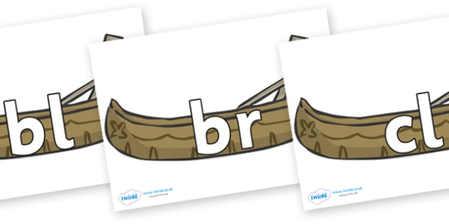Initial Letter Blends on Canoes - Initial Letters, initial letter, letter blend, letter blends, consonant, consonants, digraph, trigraph, literacy, alphabet, letters, foundation stage literacy