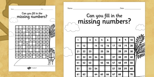 Pirates Missing Numbers Number Square - counting, count, number