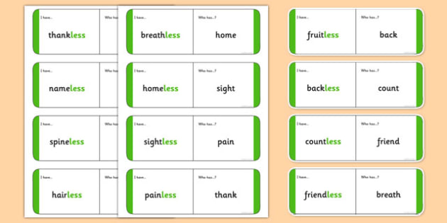 Adding the suffix -less Loop Cards