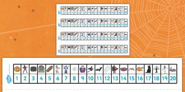 Number Track 0-20 (Halloween) - Number Track 0-20, Maths, 0, 20, Math, number track, numbertrack, Counting, Numberline, Number line, Counting on, Counting back, Halloween, pumpkin , witch, bat, scary, black cat, mummy, grave stone, cauldron, broomsti