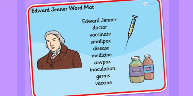 Edward Jenner Word Mat - edward jenner, word mat, keywords, words