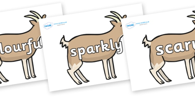 Wow Words on Goats - Wow words, adjectives, VCOP, describing, Wow, display, poster, wow display, tasty, scary, ugly, beautiful, colourful sharp, bouncy