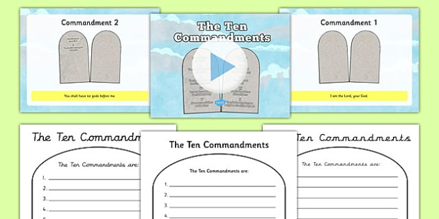 The Ten Commandments Information PowerPoint and Worksheet - the ten commandments, information, powerpoint, worksheet, the ten commandments powerpoint