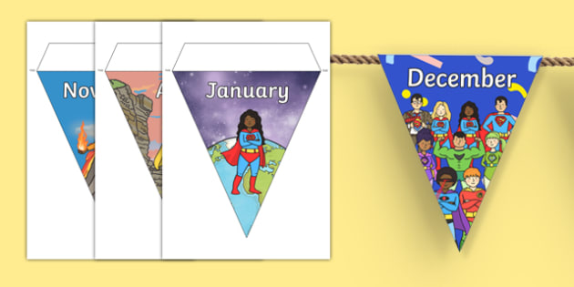 Superheroes Themed Months of the Year Bunting - superheroes, months of the year, bunting, display