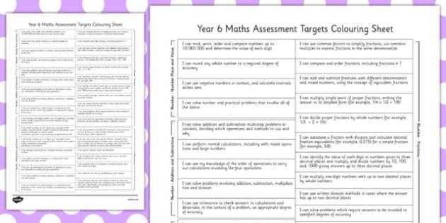 Year 6 Maths Assessment Targets Colouring Sheet - year 6, assessment