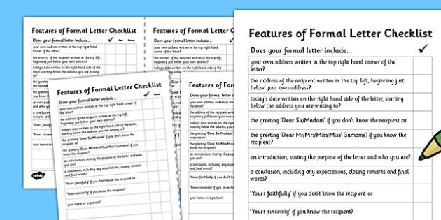 Formal Letter Writing Checklist - formal letter writing, writing a formal letter, formal letter checklist, formal letter questions, ks2 literacy, ks2