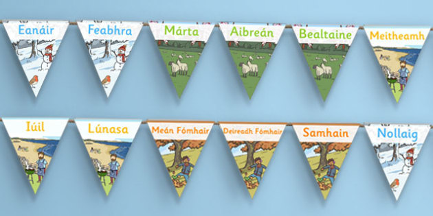 Months of the Year Display Bunting Gaeilge - gaeilge, months, year, display, bunting