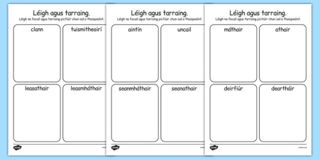 mo chlann Read and Draw Worksheet Gaeilge - gaeilge, my family, family, read, draw, worksheets
