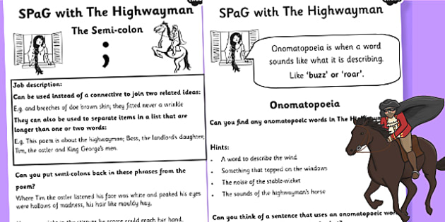 SPaG with the Highwayman Activity Sheet Pack - spag, poems, poetry, worksheet