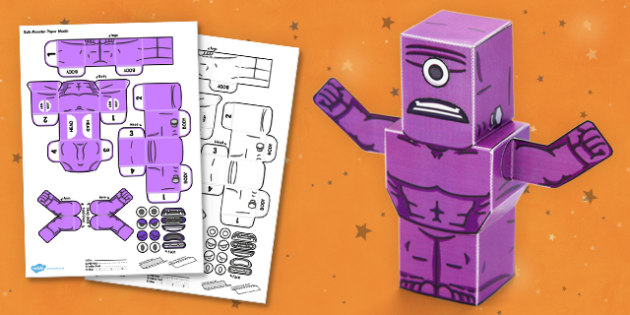Bulk Monster 3D Halloween Paper Model - paper,folding,fold,up,toy,toys,activity,class,colour,color,in,build,display.print,out,cut,printable,fun,model,stand,cube,role,play,playing,prop,props,drama,display,halloween,monster