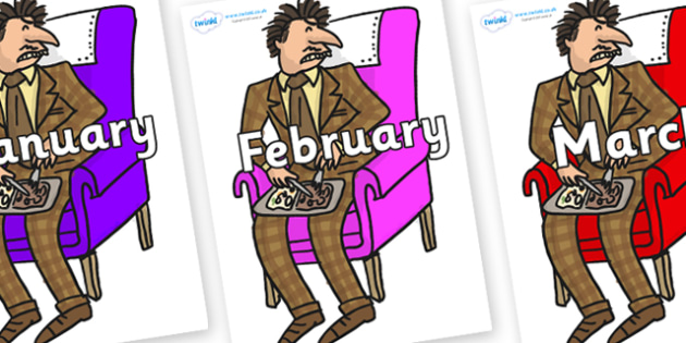 Months of the Year on Mr Wormwood to Support Teaching on Matilda - Months of the Year, Months poster, Months display, display, poster, frieze, Months, month, January, February, March, April, May, June, July, August, September