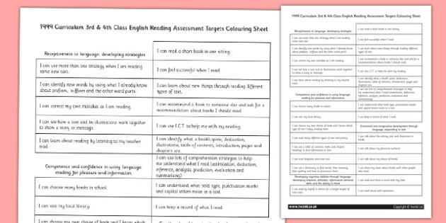 1999 Curriculum 3rd & 4th Class English Reading Assessment Targets Colouring Sheet - Ireland, Irish