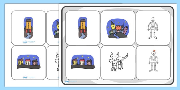 Matching Cards and Board to Support Teaching on Funnybones - funny bones, funny bones matching cards and board, funny bones picture matching activity, sen storybook resources
