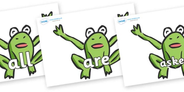 Tricky Words on Frogs - Tricky words, DfES Letters and Sounds, Letters and sounds, display, words