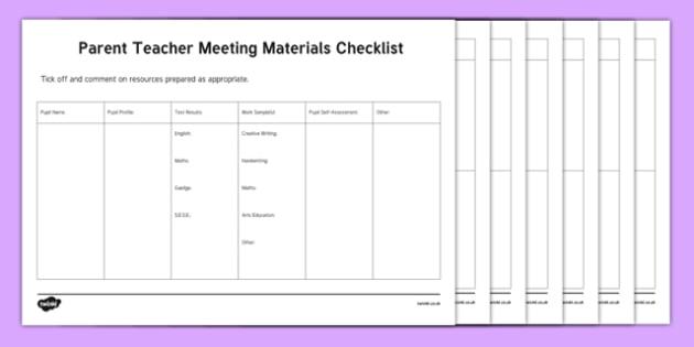 ROI Parent Teacher Meeting Materials Checklist-Irish