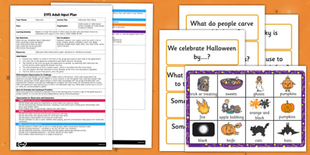 Halloween Slam Game EYFS Adult Input Plan and Resource Pack