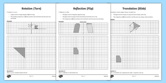 Transformations Activity Sheet - canada, Mathematics, addition, subtraction, transformations, translation, reflection, rotation, angles, geometry, fractions, worksheet