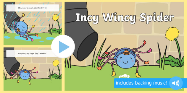 Incy Wincy Spider PowerPoint - Welsh Second Language Songs and Rhymes, Incy Wincy Spider, Welsh