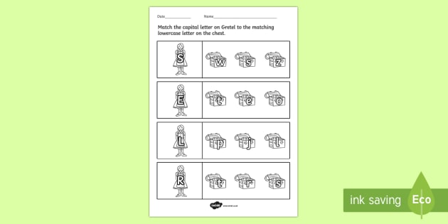 Hansel and Gretel Themed Capital Letter Match Worksheet - match