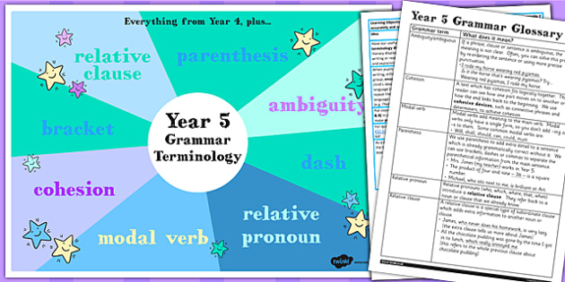 Use Understand Grammatical Terminology Appendix KS2 Y5 Ideas Pack