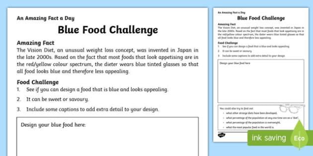 Blue Food Challenge Activity Sheet, worksheet