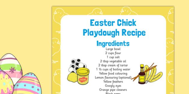 Easter Chick Playdough Recipe - Easter, easter chick, playdough, recipe