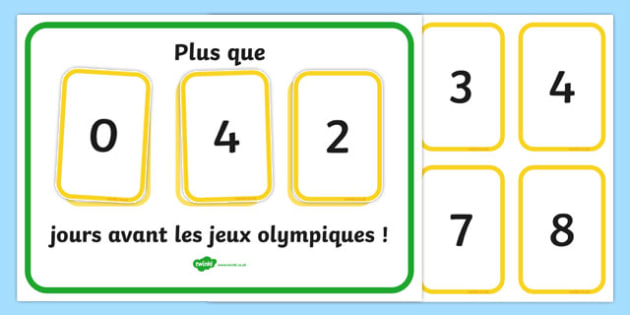 Countdown to the Olympics Display French - french, The Olympics, countdown, counting down, display, banner, sign, poster, resources, 2012, London, Olympics, events, medal, compete, Olympic Games