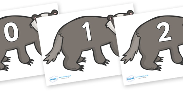 Numbers 0-100 on Badgers - 0-100, foundation stage numeracy, Number recognition, Number flashcards, counting, number frieze, Display numbers, number posters