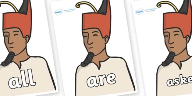 Tricky Words on Egyptian Kings - Tricky words, DfES Letters and Sounds, Letters and sounds, display, words