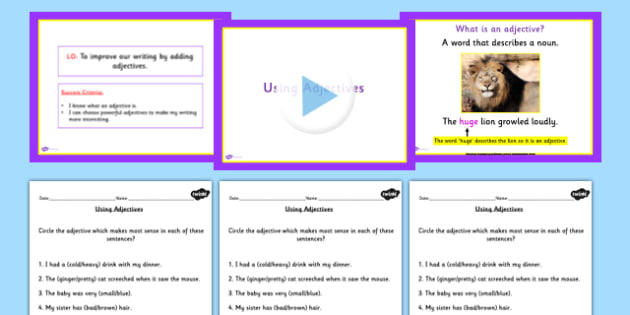 Editing Writing by Adding Adjectives Teaching Pack - literacy