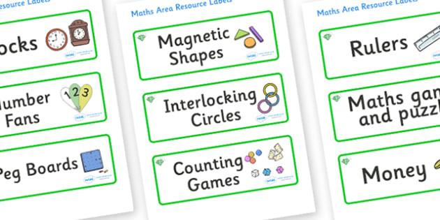 Emerald Themed Editable Maths Area Resource Labels - Themed maths resource labels, maths area resources, Label template, Resource Label, Name Labels, Editable Labels, Drawer Labels, KS1 Labels, Foundation Labels, Foundation Stage Labels, Teaching Lab