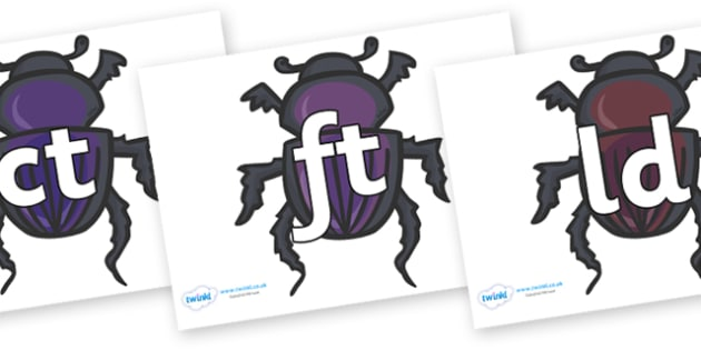 Final Letter Blends on Egyptian Beetles (Scarab) - Final Letters, final letter, letter blend, letter blends, consonant, consonants, digraph, trigraph, literacy, alphabet, letters, foundation stage literacy