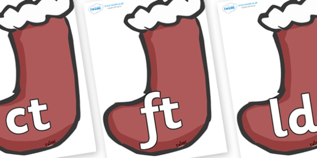 Final Letter Blends on Stockings (Plain) - Final Letters, final letter, letter blend, letter blends, consonant, consonants, digraph, trigraph, literacy, alphabet, letters, foundation stage literacy