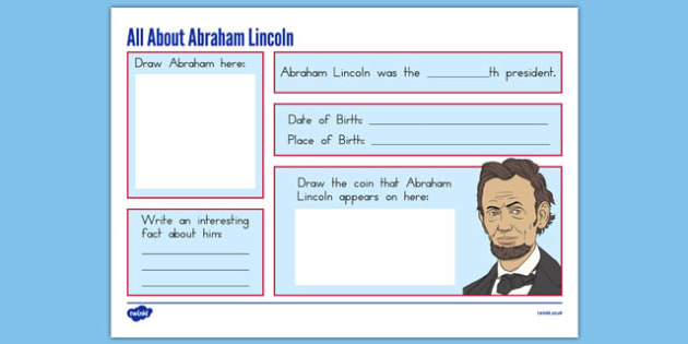 Abraham Lincoln Graphic Organizer - presidents day, usa, abraham lincoln, graphic organizer