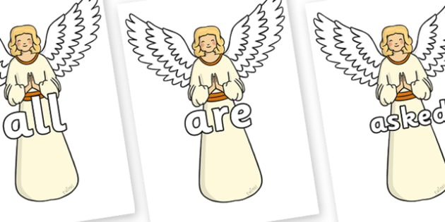 Tricky Words on Angels - Tricky words, DfES Letters and Sounds, Letters and sounds, display, words