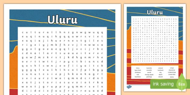 Uluru Word Search-Australia