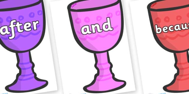 Connectives on Goblets - Connectives, VCOP, connective resources, connectives display words, connective displays