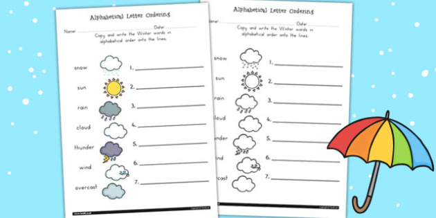 Winter Alphabet Ordering Worksheet - a-z, order, seasons, weather