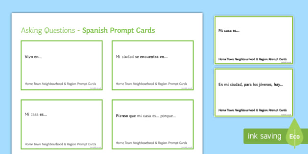 General Conversation Home Town Neighbourhood & Region Question Prompt Cards