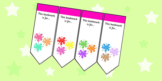 Splat Themed Bookmarks - splat, bookmarks, books, reading, award