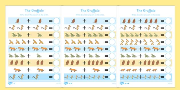 The Gruffalo Addition Sheet - the gruffalo, addition sheet, addition, addition worksheet, the gruffalo worksheet, maths worksheets